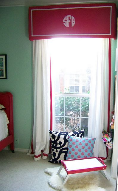 Monogrammed window treatments - really cute in a kid's room