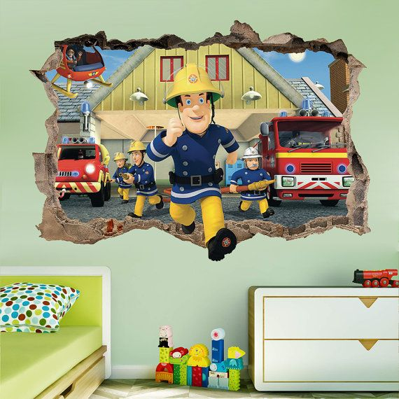Fireman Sam 3d Wallpaper Fireman Sam 3d Wall Sticker Smashed Bedroom Kids Decor