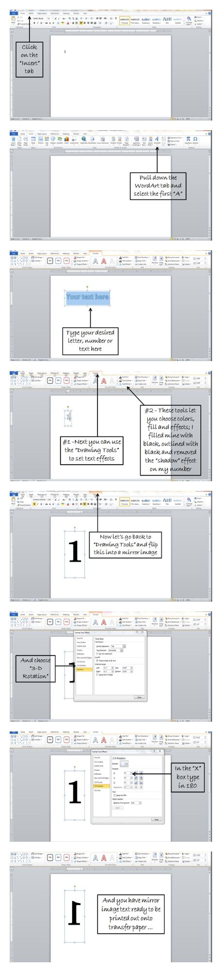 How To Make Mirror Image Text In Word: Step-by-step easy to follow tutorial on how to make words, lettter, and images mirror image for transfer