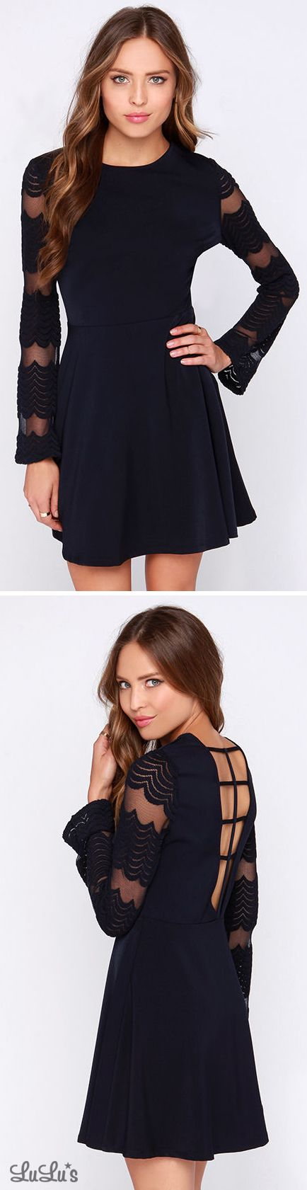 Singing Sparrow Navy Blue Long Sleeve Dress