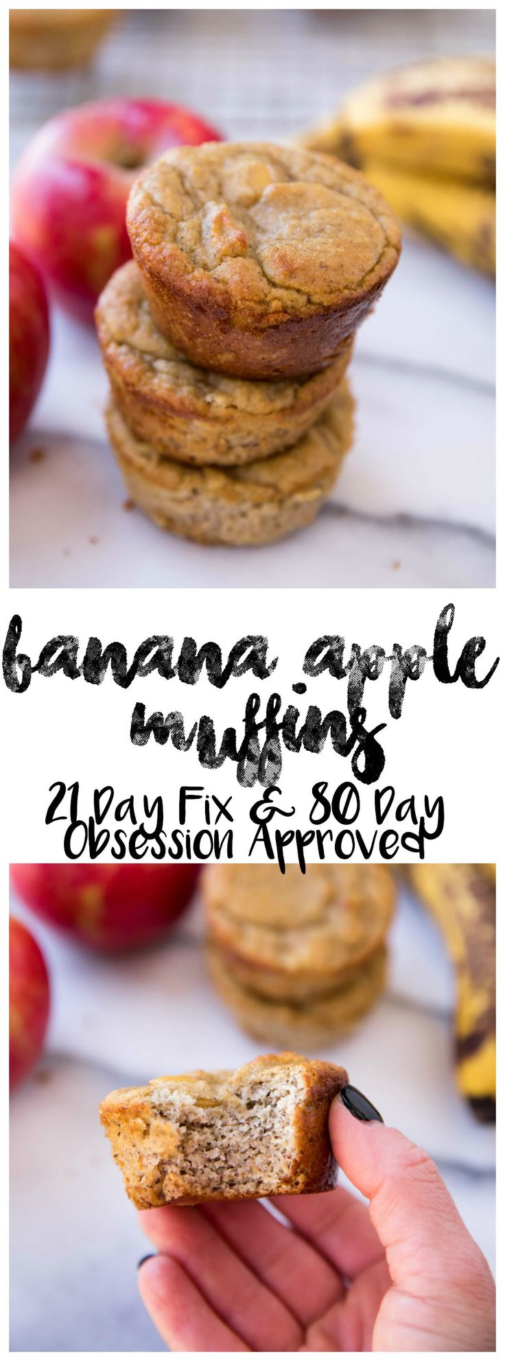 Flourless Banana Apple Muffins made in the blender with only a handful of simple ingredients! They're gluten-free, dairy-free, refined sugar free and 21 Day Fix and 80 Day Obsession meal plan approved; so they make a deliciously healthy treat for when those cravings hit. via @kimscravings