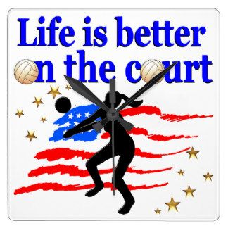 LIFE IS BETTER ON THE COURT USA VOLLEYBALL DESIGN SQUARE WALL CLOCK Calling all Volleyball players! Awesome Volleyball designs on Tees and Gifts. http://www.zazzle.com/mysportsstar/gifts?cg=196107884926703578&rf=238246180177746410  #Volleyball #VolleyballGirl #Beachvolleyball #Lovevolleyball