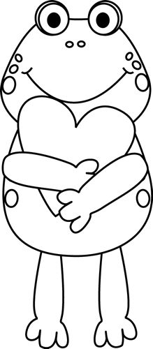 Black And White Valentine Frog Clip Art   Black And White Valentine Frog  Image