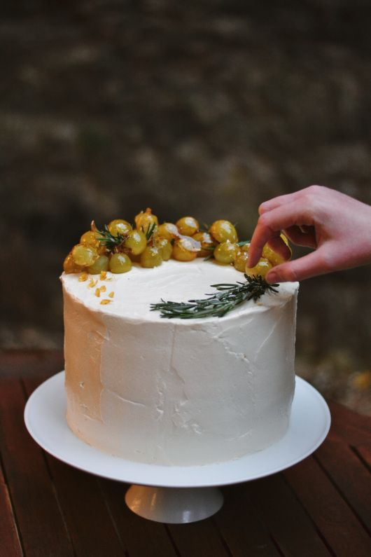 Birthday Cake with caramelised grapes by The Wildflour Bakery