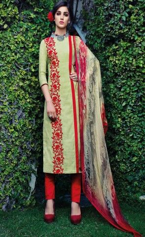 Bahni Jacquard Cotton With Bamberg Chiffon Dupatta Dress Material