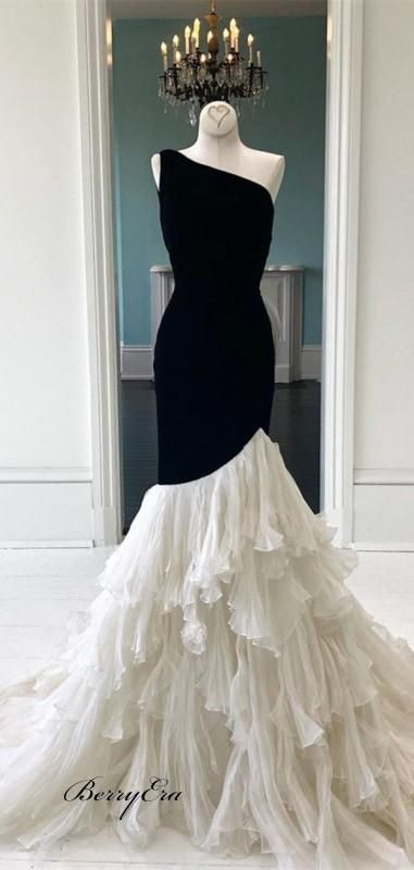 One Shoulder Black Jersey Top Ivory Chiffon Prom Dresses, Cheap Prom Dresses