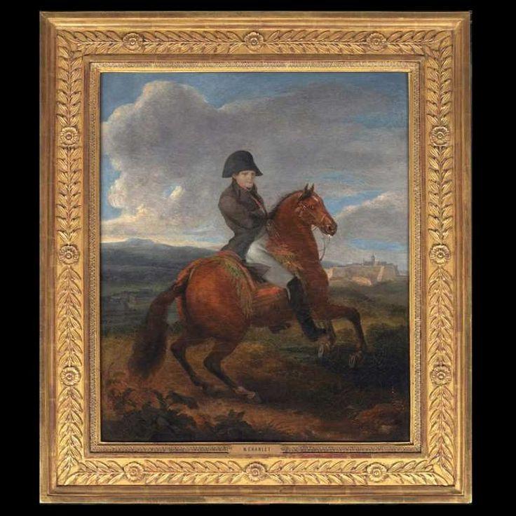 NICOLAS-TOUSSAINT CHARLET (Paris 1792-1845) « Portrait Équestre de l'Empereur Napoléon 1er » Huile sur toile d'origine signée et dédicacée au dos : « CHARLET a M.Debré. Amitiés » L'empereur est représenté à cheval devant une citadelle de Vauban. Beau...