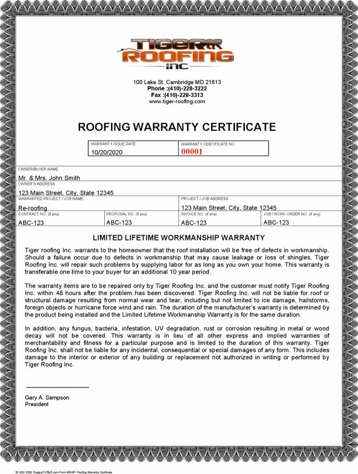 Warranty Certificate Template Free Elegant Roofing Warranty Letter Roofing Contract Template Free In 2020 Certificate Templates Best Templates Award Template