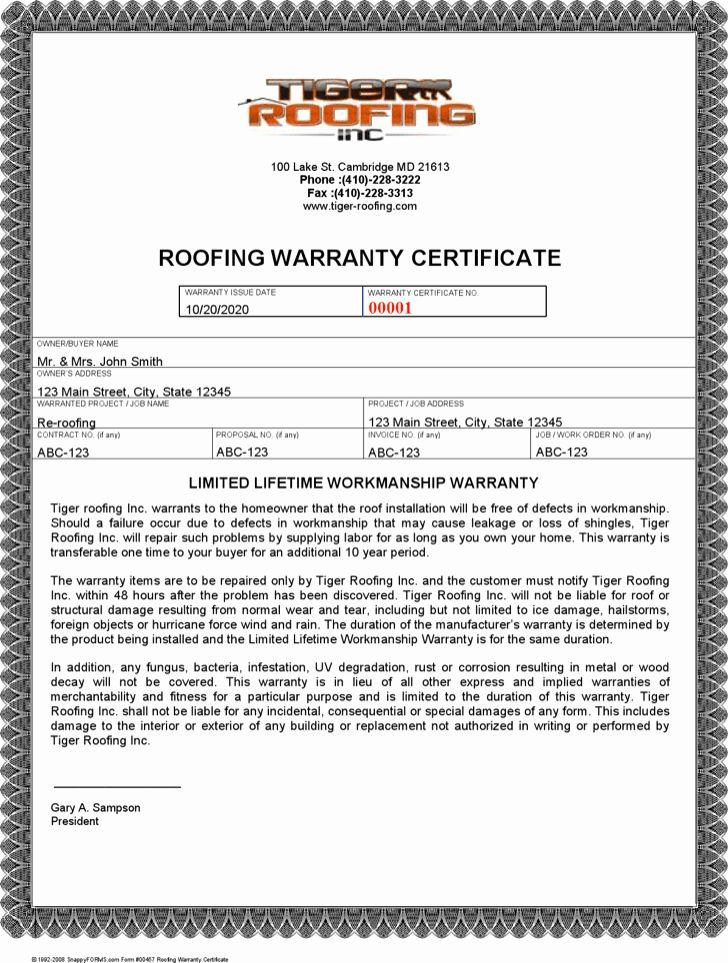 Warranty Certificate Template Free Elegant Roofing Warranty Letter Roofing Contract Template Free In 2020 Certificate Templates Best Templates Award Template