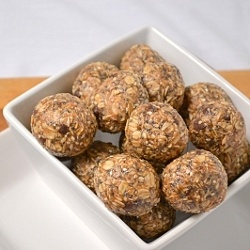 No bake energy balls! I bought some of these at our local health food shoppe a while back and loved them! I use sunflower seed butter, and I also mixed in a little bit of cocoa powder. :)