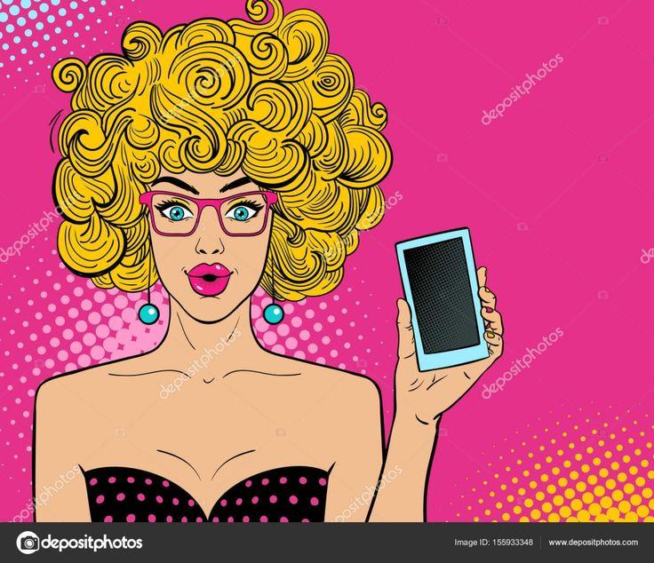 Baixar - Uau cara feminina de pop art. Mulher jovem surpresa sexy em copos com abrir a boca e cabelo loiro, segurando o telefone inteligente na mão. Fundo brilhante de vetor em estilo quadrinhos retro pop art — Ilustração de Stock #155933348