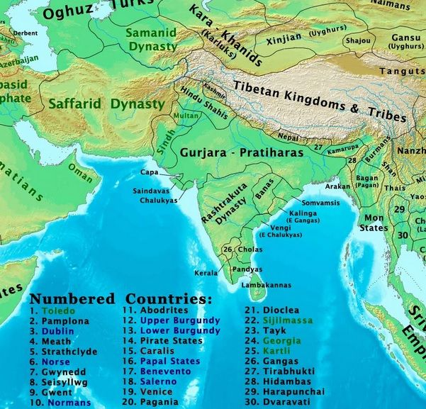 The Gurjar-Pratihara dynasty, in 900 AD, spread its kingdom from Rajasthan to the east in India. Meanwhile, the Deccan was under the Rashtrakuta dynasty.