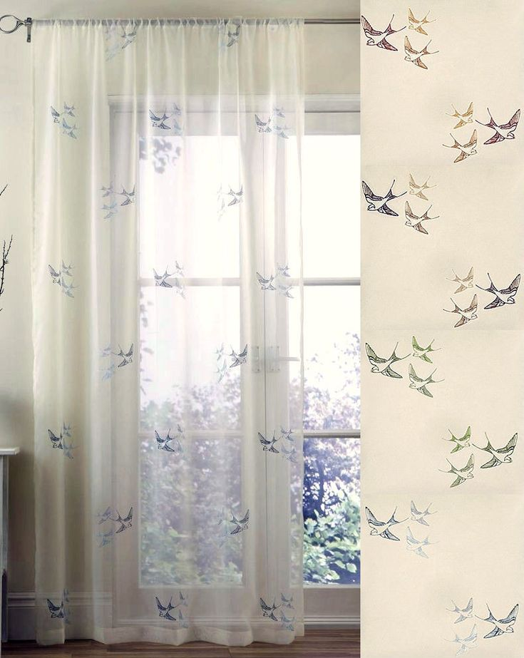 PAIR OF SWALLOW BIRD EMBROIDERED VOILE CURTAIN PANELS in Home, Furniture & DIY, Curtains & Blinds, Curtains & Pelmets | eBay