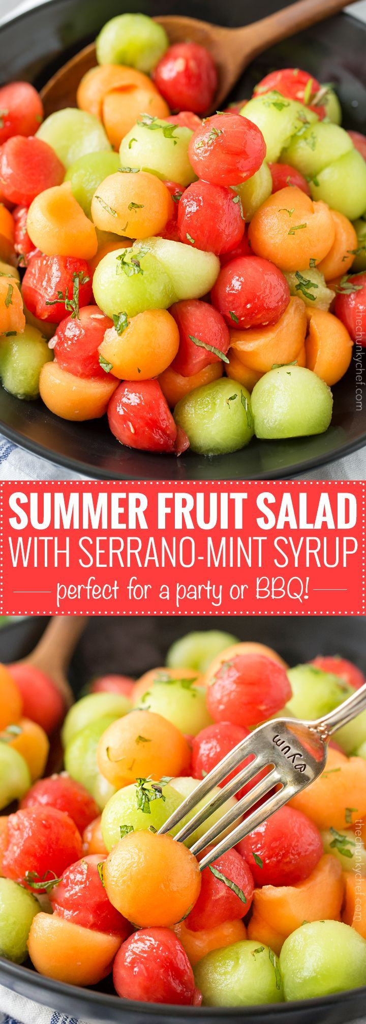 Summer Fruit Salad with Serrano Mint Syrup | A refreshing fruit salad made with a variety of summer fruits, tossed in an easy simple syrup made with mint and serrano pepper! | http://thechunkychef.com