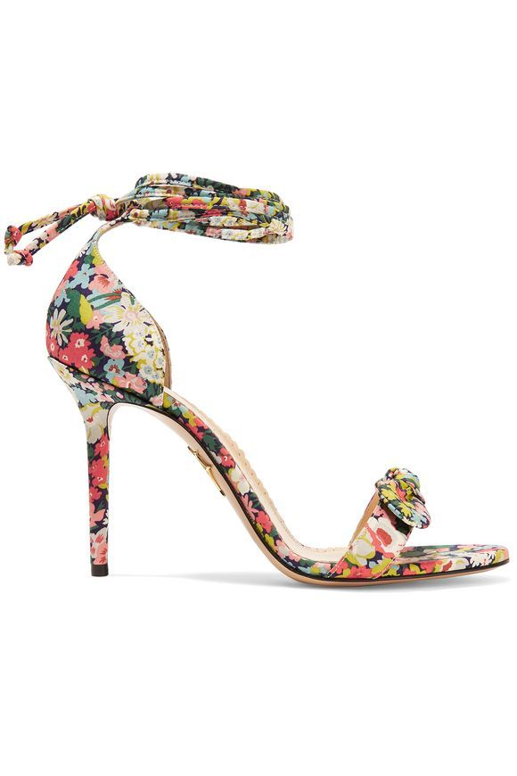 9bb6bdca08ecd Shelley bow-embellished printed cotton sandals