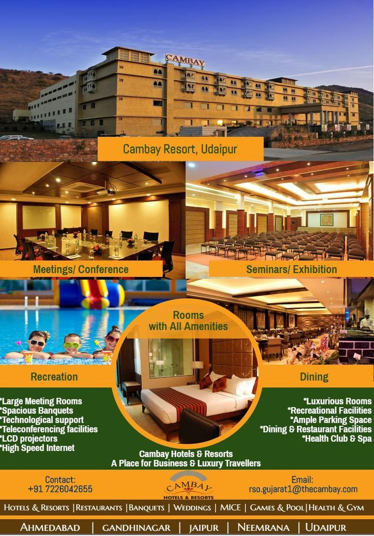 If you are a traveler who is in search of some peaceful and calm time away from the hustle bustle of the fast city life, then Cambay Spa And Resorts, Udaipur, RAJASTHAN is the plave to be. Covered by the #mountains from all the sides, the #resort fills your sight with enchanting #beauty leaving you mesmerized by its charm...http://bit.ly/2jHB6rq
