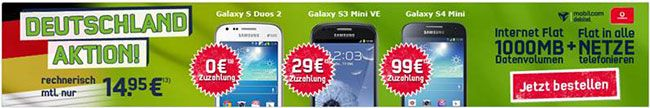 Vodafone Allnet Flat mit 1GB Internet Flat für 14,95€ inklusive Smartphone ab 0€ http://www.simdealz.de/vodafone/vodafone-allnet-flat-1gb-internet-flat-mit-smartphone/