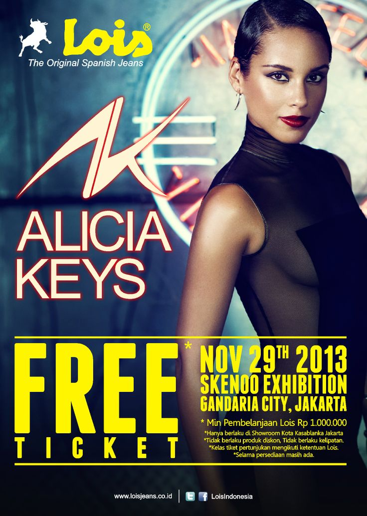 FREE TICKET ALICIA KEYS @Jakarta-Indonesia #poster #design #layout #music #flyer #event #indonesia #loisjeans