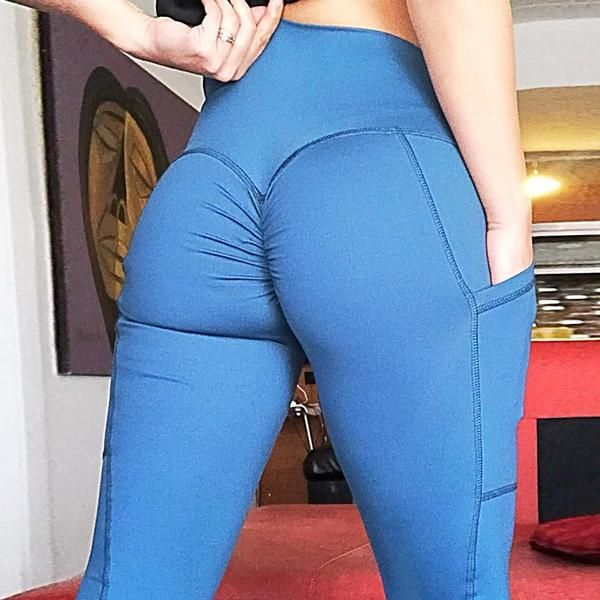 f8a80fcdc4072 2018 New Slim Push Up Leggings Women High Waist Yoga Pants with Pocket Elastic  Sexy Scrunch