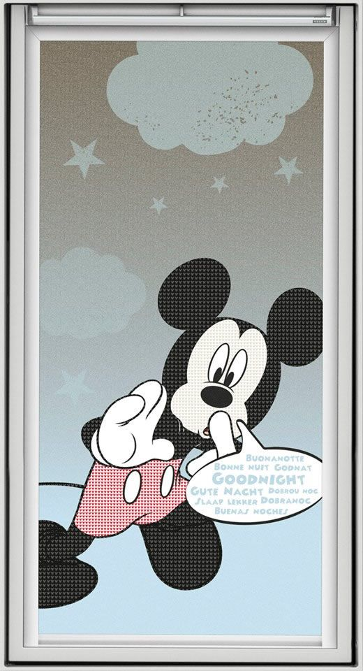 Sweet dreams Mickey Mouse! The Disney & VELUX Dream Collection blackout blinds for children's rooms. What a perfect finishing touch for any girl or boy's bedroom.