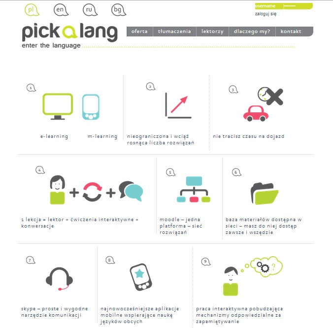 pickalang.com - Q jest odpowiedzialne za Corporate Identity, projekt i programowanie strony.