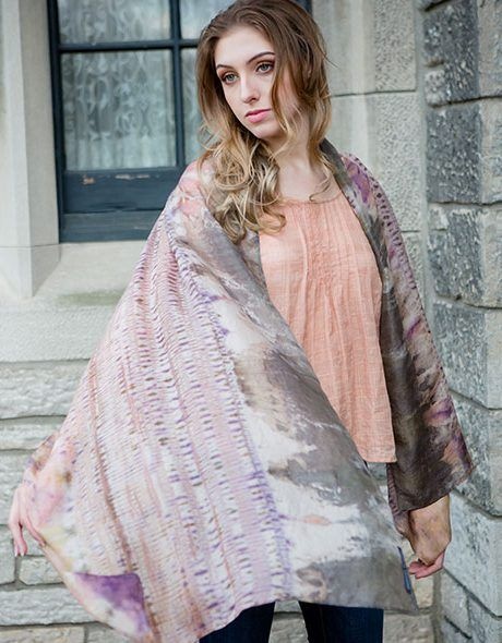 Hand dyed and stitched by designer and artist Morija, this soft, lightweight scarf is made with 100% silk. Silk Shibori Scarves are unique and timeless accessories.Natural silk is cool in the summer. Morija hand dyed this scarf with natural dyes using a traditional Japanese technique called Shibori to create textural patterns on cloth. #Designer #Scarves