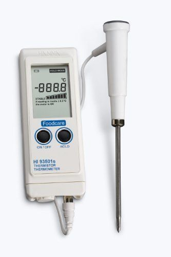 Hanna Instruments HI 93501NS Waterproof Thermistor Thermometer, with Stability Indicator, -50.0 to 150.0 degrees C + or - 0.4 degrees C (excluding probe error), with a resolution of 0.1 degrees C by Hanna Instruments. $100.10. The HI 93501NS is a heavy-duty, waterproof thermometer suitable for daily use in industrial kitchens and for catering. The meter features a wide range of interchangeable probes from the HI 762 series, which don't require recalibration.  It has...