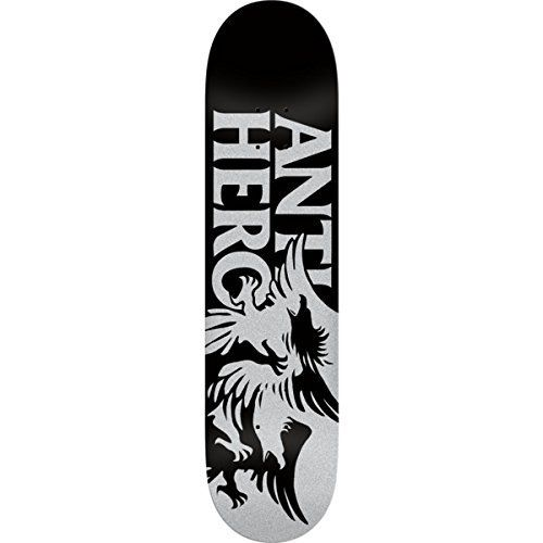 Anti Hero Skateboards Feeding Frenzy Black / Silver Skateboard Deck – 8.25″ x 32″: ANTI HERO FEEDING FRENZY SKATE DECK-eight.25 BLK/SIL