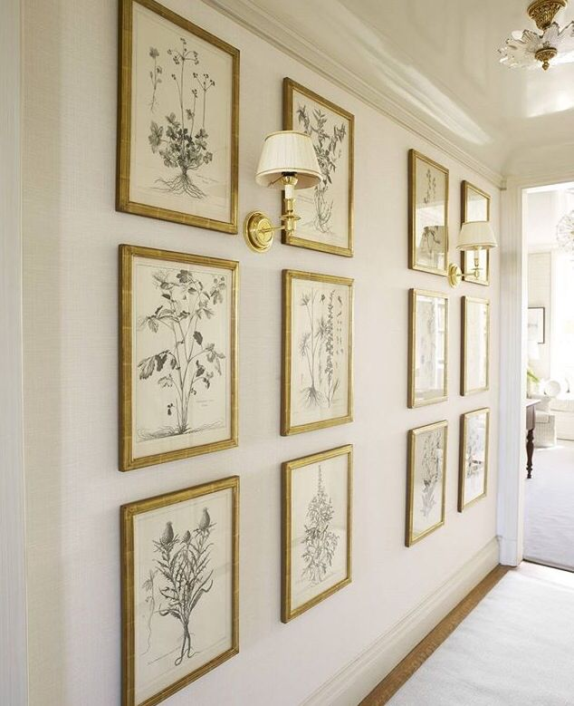Wonderful gallery Wall, love the thin gold frames, very light and bright touch!