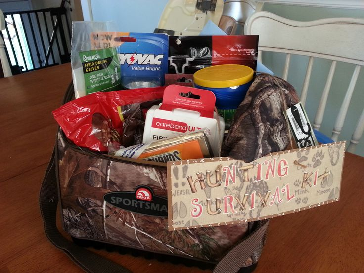 Gift idea for a husband who is a hunter! Pack it with snacks, hand warmers, gloves/hat, flashlight and maybe a couple small hunting tools.