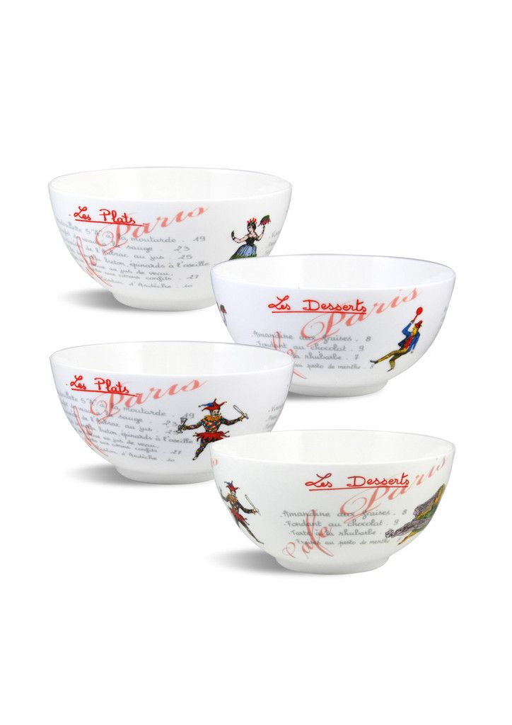 Cafe Paris Set of Bowls - Christopher Vine Design's bowl sets are a must for all households. Eat from the highest quality bone china with quirky designs!  Safe for Dishwasher and Microwave use.  - 4 Bowls per set. - 15.5cm D  Prices - $39.95 AUD