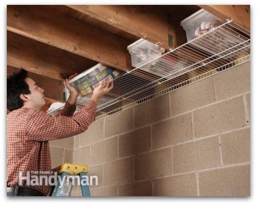 storage, garage, organise, beam storage, ceiling storage, schuur, opbergen, organiseren, plafond als opbergruimte