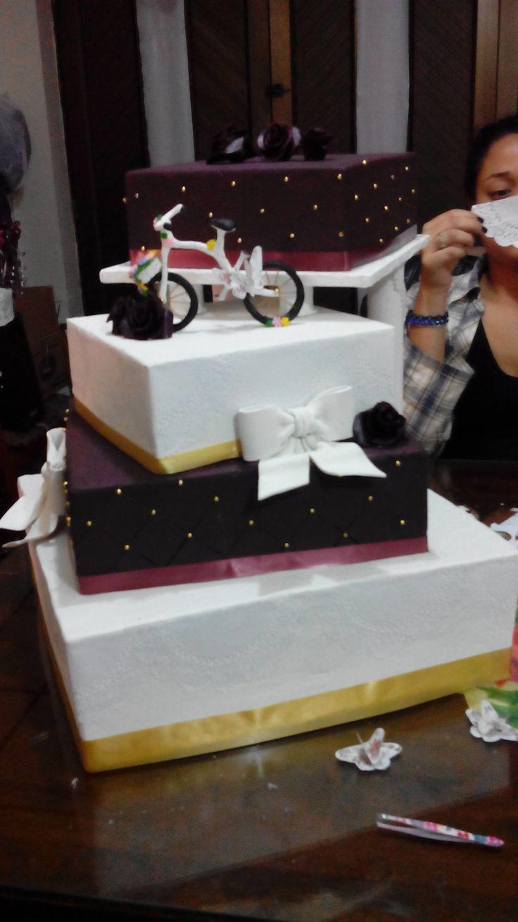 maqueta torta quinces