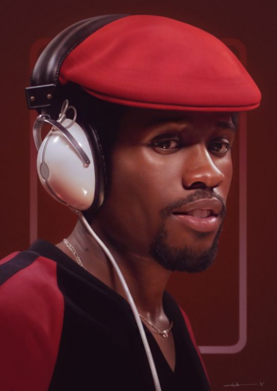 Shaolin Fantastic, drawn in PS.  : A realistic digital painting of Shaolin Fantastic from The Get Down. Portrait is from the chest up. Shaolin is wearing a 70s red and black striped velour shirt, a red flat cap, and a large pair of headphones with polished white plastic and chrome ear pads. He has a goatee and a thin gold chain around his neck. The background is deep red-brown.] the get down #HIPHOP1MAG #THEgETdOWN