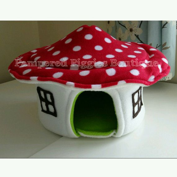 Red Toadstool HOUSE for guinea pig hedgehog by PamperedPigBoutique
