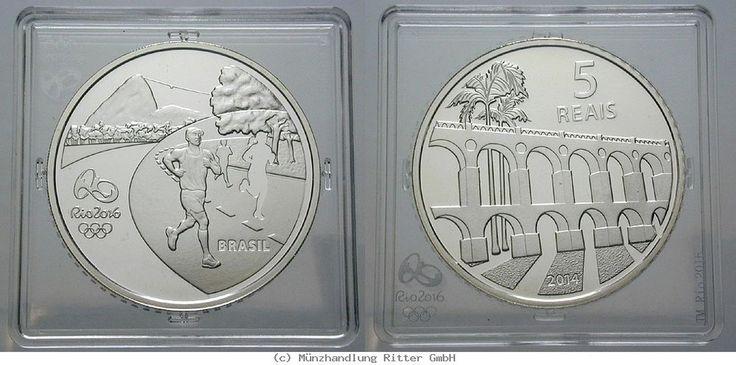 RITTER Brasilien, 5 Real 2014, Olympische Spiele Rio de Janeiro 2016, Läufer, PP #coins #numismatics