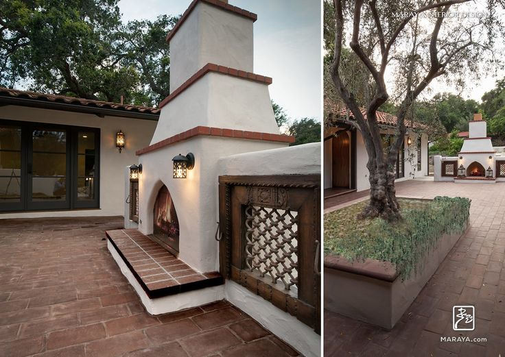 Spanish outdoor stucco fireplace with terra cotta patio for Spanish style outdoor fireplace