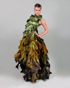 """(Romi seaweed dress, love this kelp look) Horst Couture's felt gown, titled """"Green 8x10,"""" evokes a feeling of autumn leaves changing color from green to gold to plum ..."""