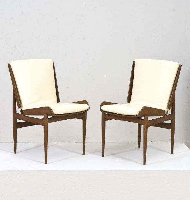 Anonymous; Teak and Leather Chairs, c1960.