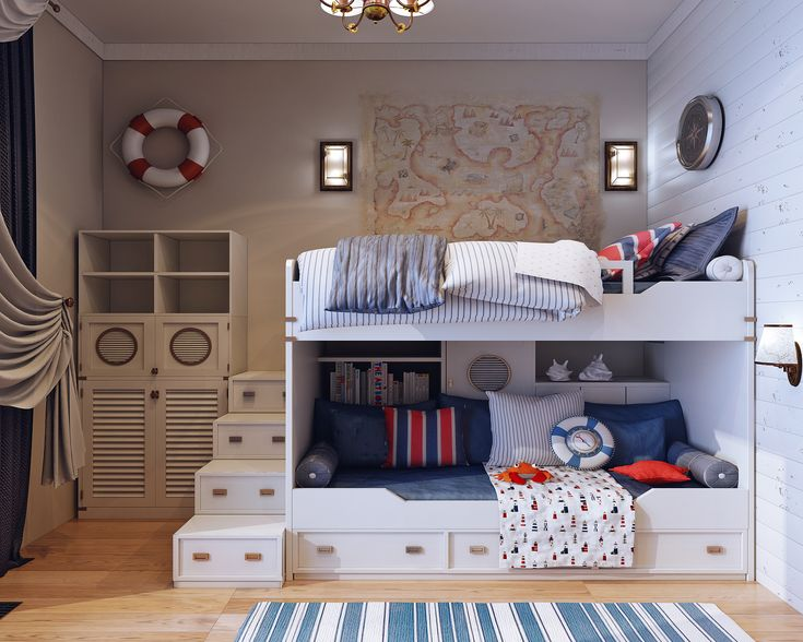 Boy's bedroom with loft Functionality and fantasy come together in this small room designed to fit a young captain.  Caroti's modular #bookcases and #cabinets systems allowed to fully exploit the available space obtaining numerous cabinets and a wall units equipped with cabinet-tv and desk.  Boy's #bedroom with loft #cameretta #camera