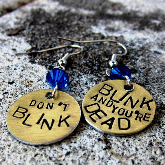Don't Blink Dr Who earrings. Hand Stamped