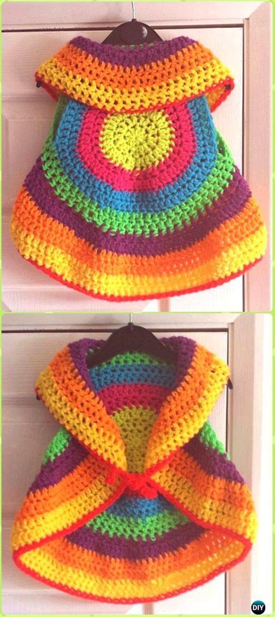 DIY Crochet Bella Circle Waistcoat Free Pattern -Crochet Little Girl Circle Vest Sweater Coat Free Patterns