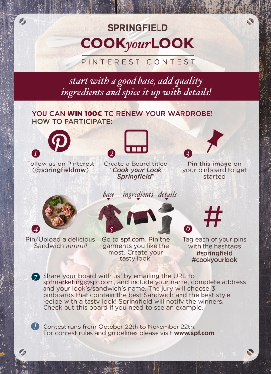 """Join our """"Cook your Look Pinterest Contest"""" You can win 100€ to renew your wardrobe! ;-) #springfield #cookyourlook"""