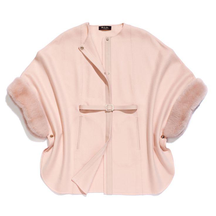 margot cashmere only double & detachable mink cuffs above knee cape, light orange (percoche), $11,725 | Loro Piana