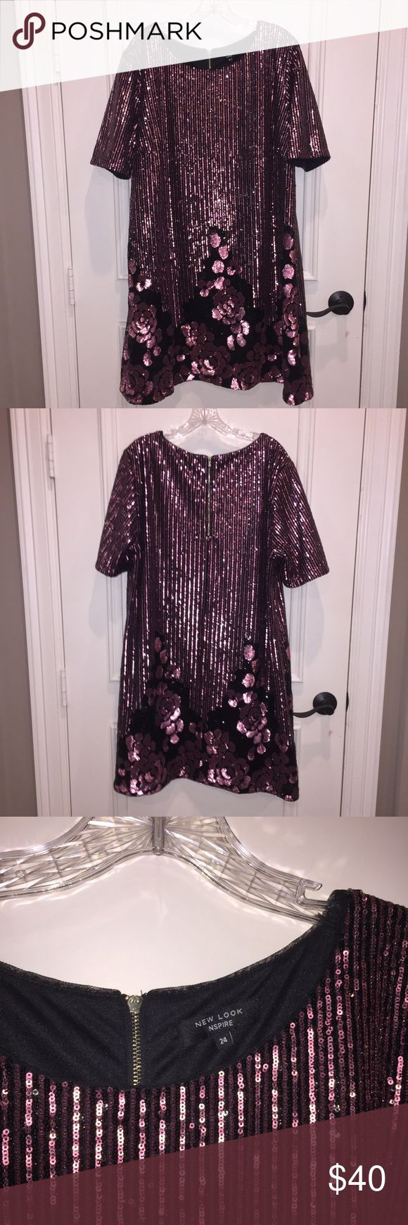 Purple sequin dress Purple/pink sequin dress with rosette detail along hem New Look Dresses
