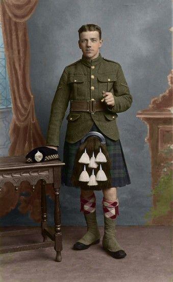 +~+~ Antique Photograph ~+~+   World War 1 Sutherland Highlander.