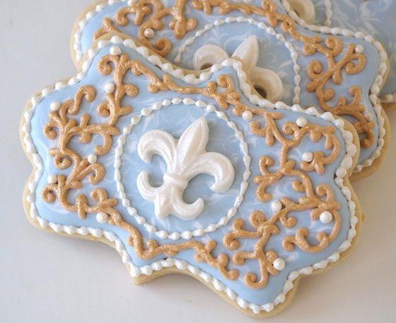Blue Amp Gold Filigree Fleur De Lis Cookies Make Me Cake