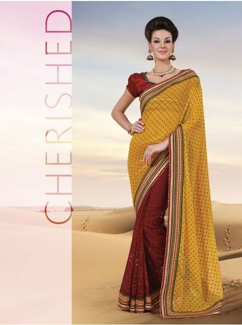 Yellow and Red Jacquard Half and Half Saree #Yellow #Red #BuyHalfAndHalfSaree #Saree #BuySaree
