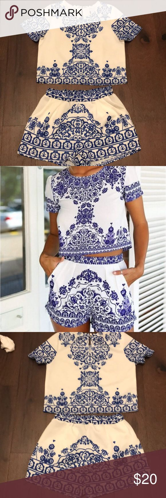 Blue and white two piece set! Royal blue and white, cropped top, high waisted shorts Tops Crop Tops