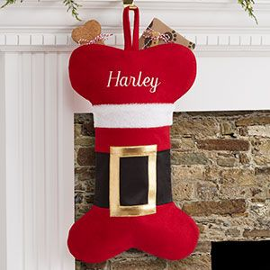 Personalized Dog Stocking - LOVE the Santa Belt Design and they have matching stockings in the usual shape for the rest of the family too!